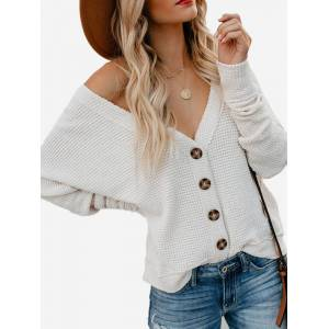 Newchic Casual Solid Color V-neck Bell Sleeve Cardigan