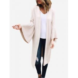 Newchic Casual Bell Sleeve Solid Color Cardigans