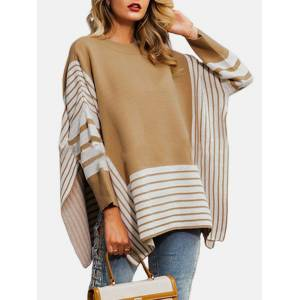 Newchic Casual Striped Bell Sleeve Crew Neck Long Sleeve Sweater