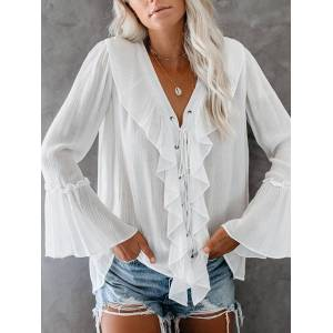 Newchic Ruffled V-Neck Bell Sleeeve Blouse