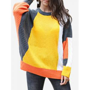 Newchic Casual Patch Crew Neck Bell Sleeve Sweater