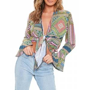 Newchic Chic Knot Print Bell Long Sleeve Sexy Blouse