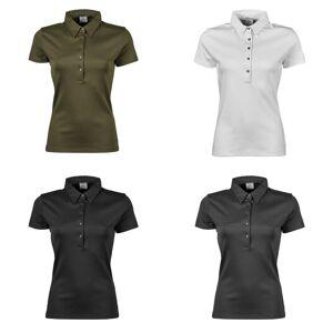Tee Jays kvinners/damer Pima kort erme Cotton Polo skjorte Svart S