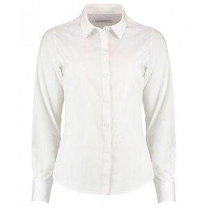 Kustom Kit Kustom orientert Kit kvinners/damer lang ermet skreddersydd Poplin skjorte Hvit 20