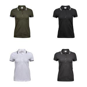 Tee Jays kvinners/damer luksus mote Stripe Polo Navy/hvit XL