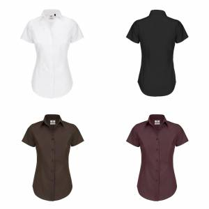 B&C B & C kvinners/damer svart slips formelle kort erme arbeid skjorte Luksuriøse rød XL