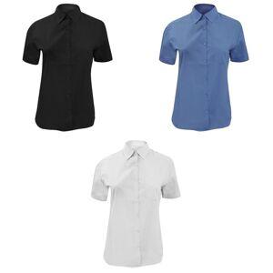 Russell samling damer/kvinners kort ermet Poly-bomull lettstelt Poplin skjorte Corporate blå M