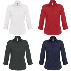 B&C B & C kvinners/damer Milano 3/4 erme Corporate Poplin skjorte Mørkerød L