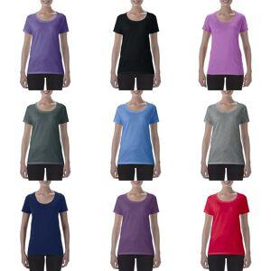 Gildan kvinners/damer kort erme dyp utringning t-skjorte Grafitt Heather XL