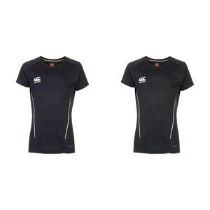 Canterbury kvinners/damer Team tørr kort erme t-skjorte Svart/hvitt 12 UK