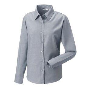 Russell samling damer/kvinners langermet lettstelt Oxford skjorte Sølv M