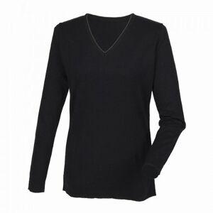 Henbury Womens Cashmere Touch akryl v Langermet genser / strikk Svart 2XS