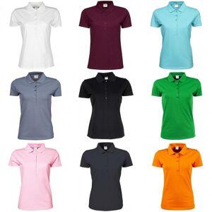 Tee Jays kvinners/damer luksus strekk kort ermet Polo skjorte Svart 2XL