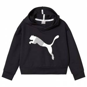 Puma Black Branded Crop Sports Hoodie 13-14 years