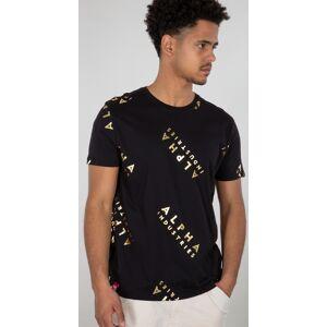 Alpha Industries AOP Foil Print T-shirt L Svart Gull