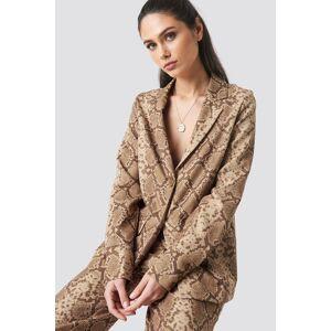 Anna Nooshin x NA-KD Buttoned Cuff Blazer - Brown