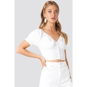 NA-KD Boho Cropped Fitted Button Top - White
