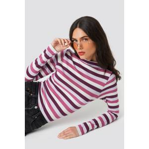NA-KD Striped LS Top - Pink,Multicolor