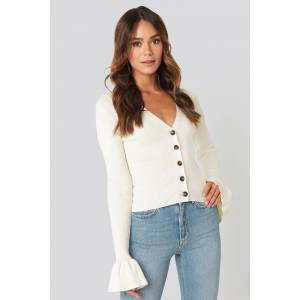 Hanna Weig x NA-KD Button Down Bell Sleeve Sweater - White