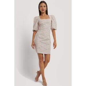 Kae Sutherland x NA-KD Square Neck Puff Sleeve Mini Dress - Multicolor