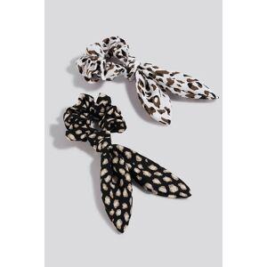 NA-KD Accessories 2-Pack Leo Rabbit Ear Scrunchies - Black,White