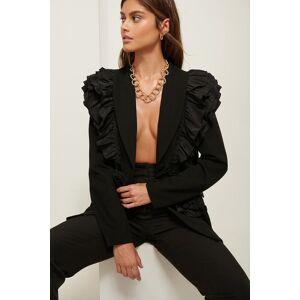 ART Frilled Shoulder Blazer - Black