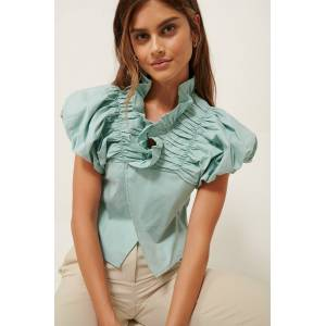 ART Ruffle Neck Cotton Blouse - Blue