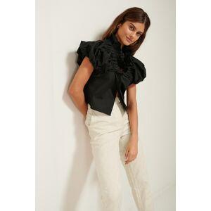 ART Ruffle Neck Cotton Blouse - Black