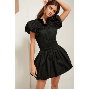 ART Ruffle Neck Mini Dress - Black