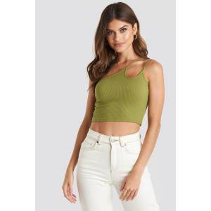 NA-KD Trend Asymmetric Strap Crop Top - Green