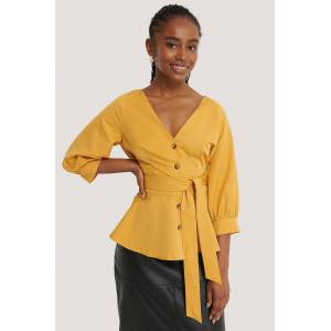NA-KD Balloon Sleeve Belted Blouse - Yellow