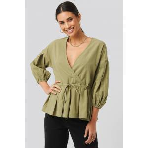 NA-KD Balloon Sleeve Drawstring Blouse - Green