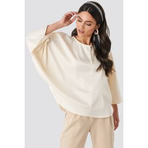 NA-KD Batwing Cropped Blouse - Beige
