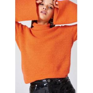 NA-KD Bell Sleeve High Neck Knitted Sweater - Orange