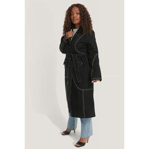 NA-KD Trend Contrast Stitch Coat - Black