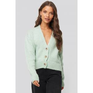 NA-KD Trend Cropped Oversized Cardigan - Green