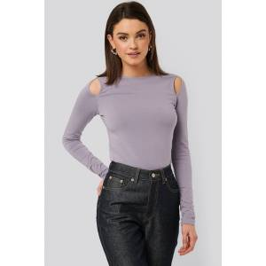 NA-KD Cut Out Round Neck Top - Purple