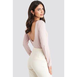 NA-KD Basic Deep Back Long Sleeve Top - Pink