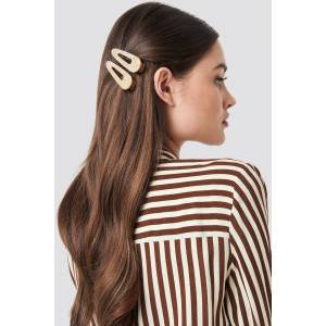 NA-KD Accessories Double Pack Pointy Hair Clips - Nude