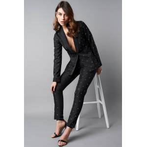 NA-KD Party Embellished Suit Pants - Black