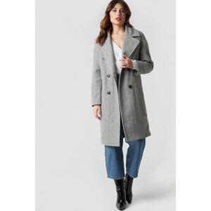 NA-KD Trend Herringbone Double Breasted Coat - Grey