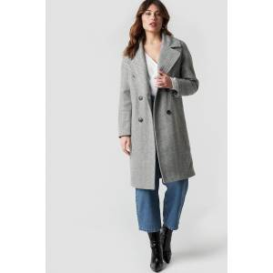 NA-KD Trend Herringbone Double Breasted Coat - Grey