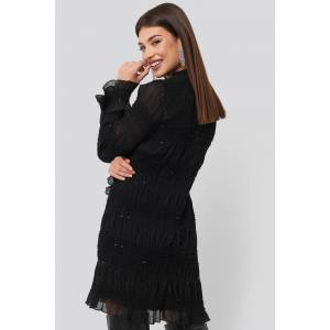 NA-KD Party High Neck Sequins Detail Dress - Black