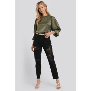 NA-KD High Waist Ripped Mom Jeans - Black
