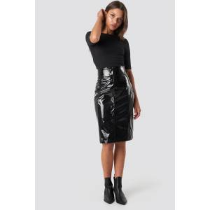 NA-KD Trend High Waist Vinyl Skirt - Black