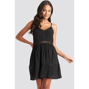NA-KD Boho Lace Insert Flowy Mini Dress - Black