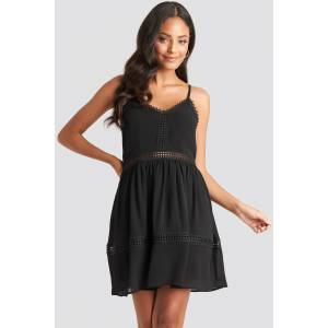 NA-KD Boho Lace Insert Flowy Mini Dress - Black