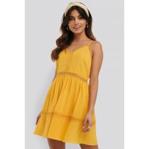 NA-KD Boho Lace Insert Flowy Mini Dress - Yellow