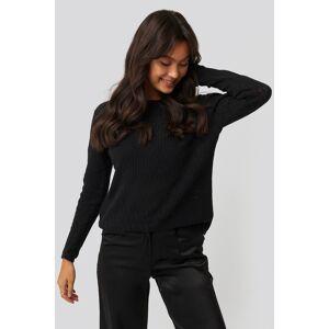 NA-KD Lace Stitch Round Neck Sweater - Black