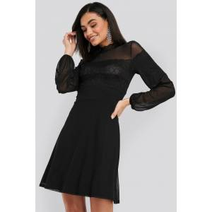 NA-KD Party Mesh Mix Jersey Dress - Black